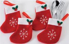 Christmas stocking cutlery holders, 15cm
