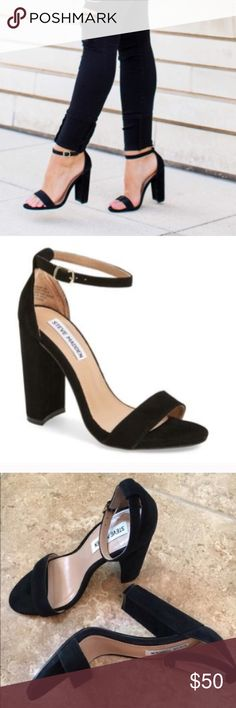 "Steve Madden Carrson Black suede, size 10, adjustable ankle strap, 4"" heel, worn once, no trades Steve Madden Shoes Sandals"
