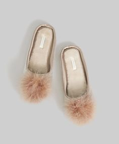 ffec9e45b51 ... Mink-coloured velour fluffy slippers with marabou pompom detail
