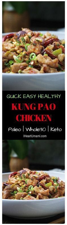 Easy Super delicious Paleo Kung Pao Chicken with no added sugar & soy paste. Paleo Recipes Easy, Asian Recipes, Real Food Recipes, Chicken Recipes, Paleo Meals, Keto Chicken, Crockpot Meals, Paleo Whole 30, Whole 30 Recipes