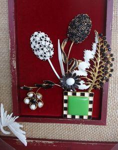 OOAK Framed Vintage Jewelry Burlap Barn Red by DisguisedDimensions
