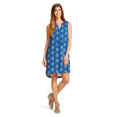 Women's Woven Sleeveless Shift Dress - Beach Lunch Lounge