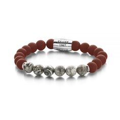 – Natural stone bracelet – with steel bead – Agate and Jaspis 8 mm – one-size cm) – red / grey / silver Red And Grey, Stone Bracelet, Natural Stones, Agate, Beaded Bracelets, Silver, Jewelry, Armband, Jewels
