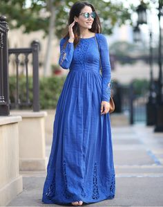 Modest Blue Maxi Dress