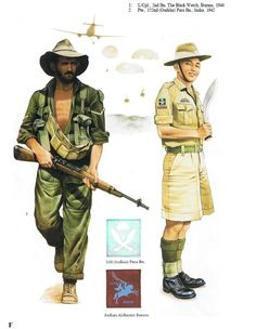 "BRITISH ARMY South East Asia, Airborne - 1. Lance corporal, 2nd Battalion, ""Black Watch"" Regiment, Burma 1944 - 2. Private, 152nd (Gurkha) Parachute Battalion, India 1942"