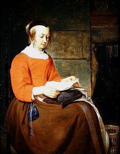 Bild: Gabriel Metsu - A young woman seated in an interior, reading a ...
