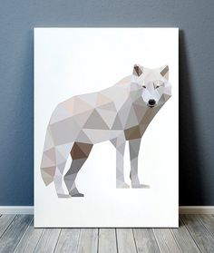Nice contemporary Animal art. Beautiful Wildlife print for your home and office. Cute Geometric print. Lovely Wolf poster. SIZES: A4 (8.3 x 11)