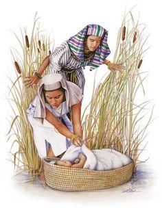 Israelsfolket blir så mange at egypterne blir engstelige. Farao krever at Israels guttebarn skal drepes. Moses blir født. Han er av israelsfolket, og mora hans setter han i en kurv på Nilen. Faraos egen datter finner han i sivet, og vil beholde han som sin egen sønn. Mora til Moses får amme han.