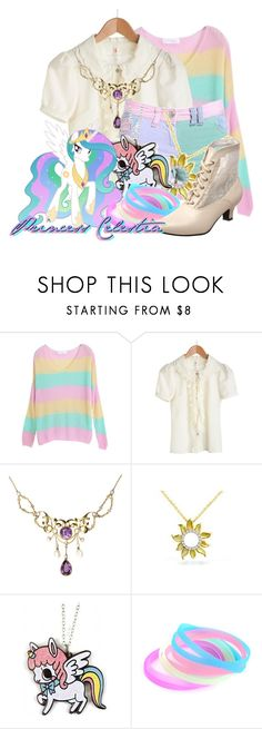 """""""Princess Celestia from My Little Pony: Friendship is Magic"""" by likeghostsinthesnow ❤ liked on Polyvore featuring H&M, Mother of Pearl and Funtasma"""