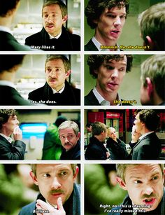 "When I was watching this all I could think was- Sherlock's the ex. When John says ""Mary likes it"" it's his way of throwing a punch at Sherlock. It is just so reminiscent of someone trying to make his ex-girlfriend or ex-boyfriend jealous. Sherlock Bbc, Sherlock Fandom, Sherlock Cumberbatch, Benedict Cumberbatch, Sherlock Humor, Sherlock Series, Sherlock Poster, Sherlock Season, Sherlock Quotes"