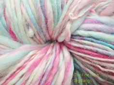 Handspun Lavender Pink and Aqua Yarn  Big Bangs  by thefinelime