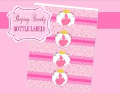Shop for on Etsy, the place to express your creativity through the buying and selling of handmade and vintage goods. Disney Princess Party, Pink Princess, Sleeping Beauty Party, Aurora Sleeping Beauty, Beauty Party Ideas, 5th Birthday, Birthday Parties, Bottle Labels, Walt Disney