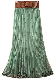 Womens Pleated Floral Print Bowknot Belt Chiffon Long Skirt Maxi Dress ACEFAST INC http://www.amazon.com/dp/B00MHNLJOO/ref=cm_sw_r_pi_dp_4UNbub1SCDG4J