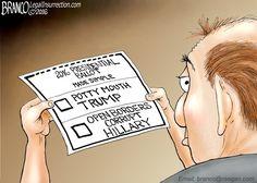 http://conservativebyte.com/2016/10/multiple-choice-political-cartoon-a-f-branco/  2016 Presidential Ballot made simple by Donald Trump or Hillary Clinton.