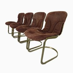 Italian Suede Leather Chairs by Willy Rizzo for Cidue, 1970s, Set of 4 Jetzt bestellen unter: https://moebel.ladendirekt.de/kueche-und-esszimmer/stuehle-und-hocker/esszimmerstuehle/?uid=6bf49cd9-f6fe-5d81-9f72-340f5fd017c7&utm_source=pinterest&utm_medium=pin&utm_campaign=boards #kueche #sets #esszimmerstuehle #esszimmer #hocker #stuehle Bild Quelle: pamono.com