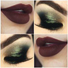 O marrom combina muito com tons de verde. Por isso sugiro essa make com verde clarinho brilhante e esfumado verde musgo. Diferente e glamourosa!