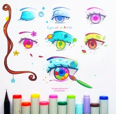 +Eyes of an Artist+ by larienne New Eye Tales, since it's been a while I drew something happy and colorful in this series ; D  Artists adapt the world around them, they are able to notice magic hidden in it, absorb it and use to it to create their pieces of art :) Eye Tales is my personal original project in which I draw stories and concepts via eyes.