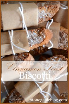 """CINNAMON TOAST BISCOTTI: """"Need a little something sweet with your coffee or tea? Give CINNAMON TOAST BISCOTTI a try. They are delicious and cinnamony.... and a grown up version of the cinnamon toast my mom used to make!"""" 