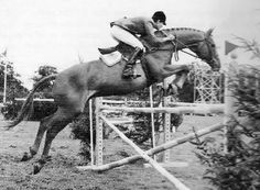 Kathy Kusner on Untouchable at Hickstead in the mid-60s. Untouchable was a Thoroughbred by Bolero, out of Kum by Mate. Untouchable had race winnings of $2590. Benny O'Meara bought him from the Midwest and showed him as an 11 year old Green Jumper in Florida. He then loaned him to the team for Kathy to ride. Mr. & Mrs. Patrick Butler bought him in 65.