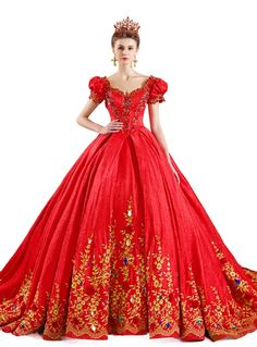 Red Ball Gown Lace Puff Sleeve Gold Appliuqes Wedding Dress With Crystal The Dress Bridal Wedding Dresses London, Colored Wedding Gowns, Red Wedding Dresses, Bridal Dresses, Lace Wedding, White Ball Gowns, Yoruba, Different Dresses, Trends