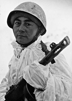 W.W. II, 1942, Red Army sniper A.I. Troskhin somewhere on the Leningrad front,