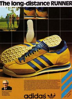 newest 6f9b9 b7f8c 1978 Vintage Adidas The Long Distance Runner Running Shoe Print  Advertisement