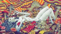 """Psychedelic Trippy Art Fabric poster 43"""" x 24"""" Decor 90"""