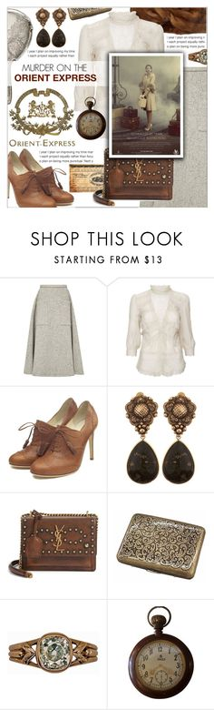 """Murder on the Orient Express"" by celine-diaz-1 ❤ liked on Polyvore featuring Rosie Assoulin, Miu Miu, Warehouse, Rupert Sanderson, Stephen Dweck and Yves Saint Laurent"