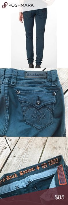 "Rock Revival Sasha Skinny Jean--Teal Blue--Size 29 These women's Sasha skinny jeans are a beautiful dark teal with black stitching and black hardware/buttons. In excellent, like-new condition, very lightly worn.   Rock Revival Sasha Skinny fit jeans, teal blue in color. Inseam is 31 1/2"", leg opening is 6"", waist is 17"". Rise in front is 7 1/2"" and in back is 13"". Rock Revival Jeans Skinny"
