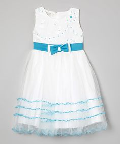 Another great find on #zulily! White & Blue Flower Tiered A-Line Dress - Toddler & Girls #zulilyfinds