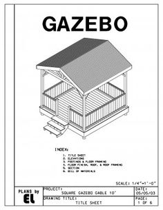 Summerhouse plans blueprints for constructing a gazebo home 4 sided gazebo gable roof building plans blueprints 10 do it yourself diy solutioingenieria Image collections