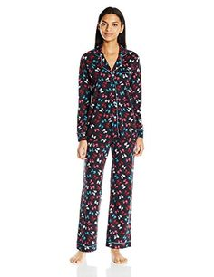 41bf2234b1d12 Cosabella Womens Bella Long Sleeve Top and Pant Pajama Set Printed Bow  Black Picasso Blue Large     To view further for this item