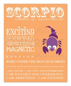 SCORPIO Zodiac Nursery / Kids Room Art Print  8 x 10 by PaperRamma, $20.00