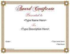 Special Certificate  Achievement Award Certificate