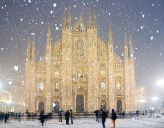 Winter Wonderland in Milan. Duomo Cathedral in Milan, Italy. Saw milan in the summer, this looks so ethereal though! Places Around The World, Oh The Places You'll Go, Places To Travel, Places To Visit, Travel Destinations, Travel Tips, Travel Hacks, Beautiful World, Beautiful Places