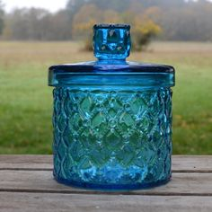 blue glass canister