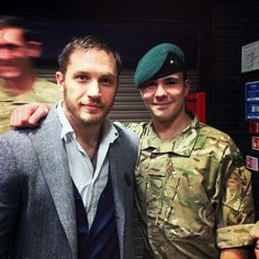 """tomhardyvariations:  """" Tom looking gorgeous during his visit to Commando Training Centre Royal Marines Lympstone. Shared by ollypolls (""""My brother meeting Tom Hardy"""" """""""