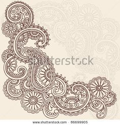 stock vector : Hand-Drawn Abstract Henna Mehndi Swirls, Flowers and Paisley Doodle Vector Illustration Design Elements