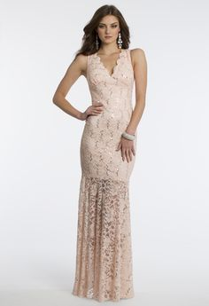 Camille La Vie V Neck Lace Prom Dress with Illusion Skirt