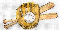 Free Cross Stitch Patterns: Baseball Mitt, Ball & Bats