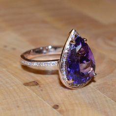 Amethyst and Diamond Ring (18k Rose Gold)