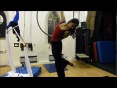 Skinning the cat in flag and dismount - aerial hoop - YouTube