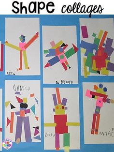 Shape Activities for Preschool, Pre-K, and Kindergarten - Pocket of Preschool - ME Shape collages! Plus Shapes activities for preschool, pre-k, and kindergarten. Shape Activities Kindergarten, 2d Shapes Activities, Pre Kindergarten, Pre K Activities, Kindergarten Graduation, Preschool Shapes, Kindergarten Art Lessons, Teaching Shapes, Art For Kindergarteners