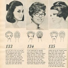 Vintage Hairstyles Retro Vintage hairstyle with roller setting pattern. Love the first style in the half updo. Wig Styles, Short Hair Styles, 1960 Hairstyles, Vintage Hairstyles Tutorial, 1960s Hair, Retro Updo, Hair Patterns, Roller Set, Half Updo
