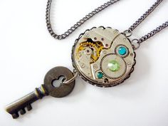 Steampunk Necklace jewelled watch movement by FunkyGlam Jewellery. Can be custom made with different coloured swarovski crystals. I ship worldwide and accept international payment via paypal