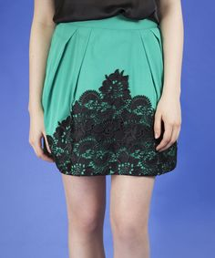 This Green & Black Lace Pleated Skirt is perfect! #zulilyfinds