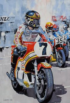 Motorcycle Art UK is an online gallery showcasing the work of professional illustrator Ian Cater Motorcycle Racers, Motorcycle Posters, Motorcycle Art, Racing Motorcycles, Bike Art, Motos Vintage, Sr500, Bike Poster, Vintage Sports Cars