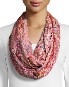 Paisley+Thick+Stitch+Infinity+Scarf,+Orange/Hot+Pink+by+Raj+at+Neiman+Marcus+Last+Call. $22.50