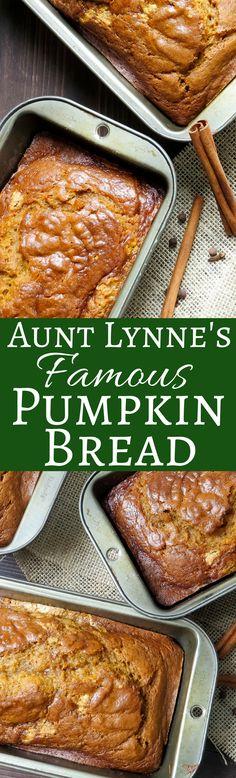 Lynne's Famous Pumpkin Bread Aunt Lynn's Famous Pumpkin Bread - can't wait to try it.Aunt Lynn's Famous Pumpkin Bread - can't wait to try it. Brunch Recipes, Bread Recipes, Breakfast Recipes, Dessert Recipes, Cooking Recipes, Desserts, Quick Dessert, Vegetarian Recipes, Pumpkin Recipes