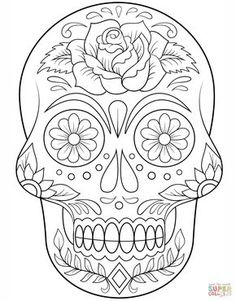 Sugar Skull with Flowers Coloring page from Day of the Dead category. Select from 20883 printable crafts of cartoons, nature, animals, Bible and many more. Sugar Skull with Flowers Coloring page from Day of the Dead category. Skull Coloring Pages, Halloween Coloring Pages, Flower Coloring Pages, Coloring Book Pages, Coloring Sheets, Adult Coloring, Mandala Coloring, Sugar Skull Tattoos, Sugar Skull Art